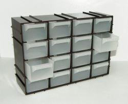 Skříňka ABS plast - 16 zásuvek